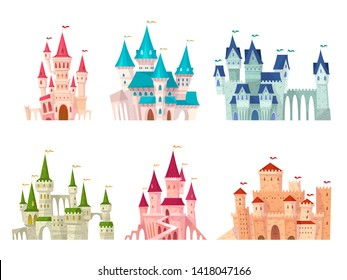 Castles set. Medieval castle towers fairytale mansion fortress fortified palace gate ancient gothic citadel cartoon collection