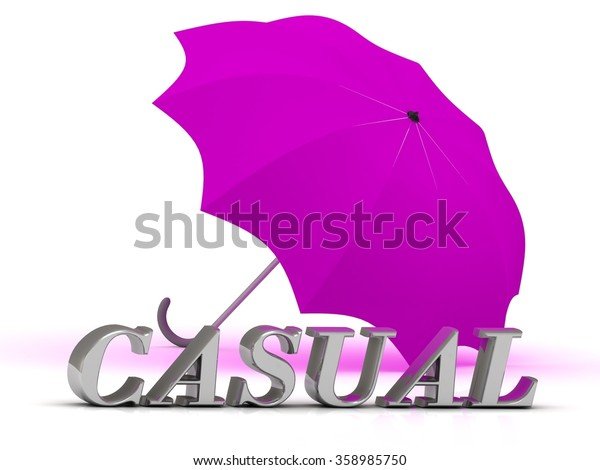 CASUAL- inscription of silver letters and umbrella on white background