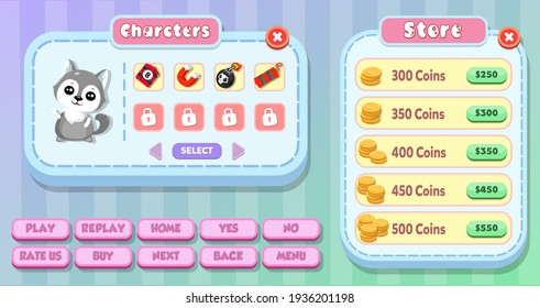 Casual kids game User Interface