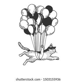Cat animal flies on air balloons sketch engraving raster illustration. Tee shirt apparel print design. Scratch board style imitation. Black and white hand drawn image.