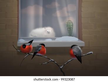 Cat and birds