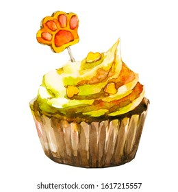 Cat cake in watercolor. Pet care painting. Isolated illustration. Watercolor baking for cat.