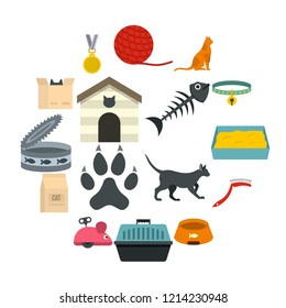 Cat care tools icons set in flat style isolated illustration