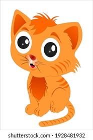 Cat cartoon beautiful color cheerful 3