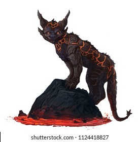 Cat creature made of lava rock and magma standing on a rock above a lava stream isolated white background - digital fantasy painting