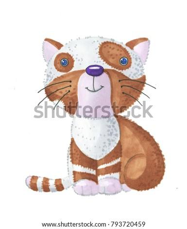cat cute kitten drawing markers stock illustration 793720459