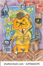 cat detective and cat-bandit. Watercolor illustration about the investigator and the robber.
