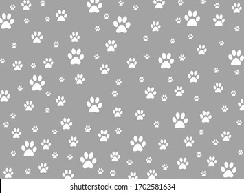 Cat or dog footprint pattern motif in gray background