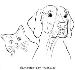 cat and dog - freehand on white background, illustration