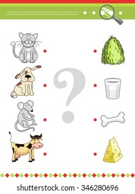 Cat and dog, mouse and cow, hay and milk, cheese and bone Matching game