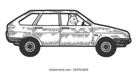 Cat driving car sketch engraving raster illustration. Scratch board style imitation. Black and white hand drawn image.