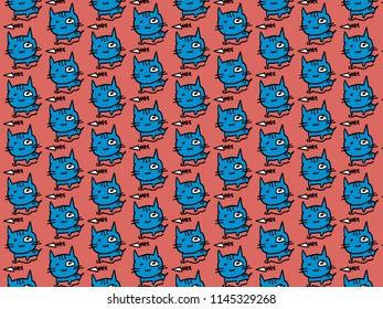 Cat and fish bone drawing pattern seamless