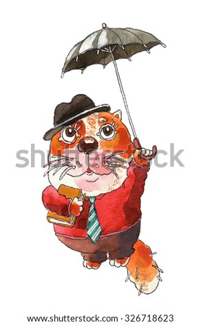 the cat is flying on the black umbrella hat animal cat watercolor art funny  naughty drawing 3bc5ef56942