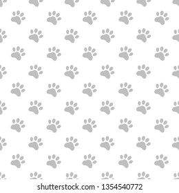 Cat foot or Dog foot pattern on a white background.Illustration seamless pattern wallpaper background.