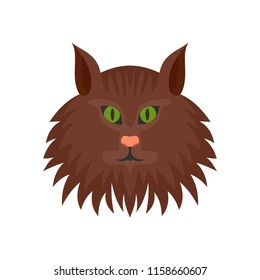 Cat head icon. Flat illustration of cat head icon for web isolated on white