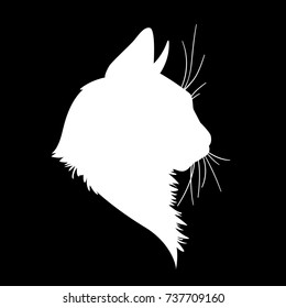 Cat head silhouette. Illustration in monochrome style on black background. Element for your design. White shape  of pet muzzle. Fluffy fur. Stencil. Profile.
