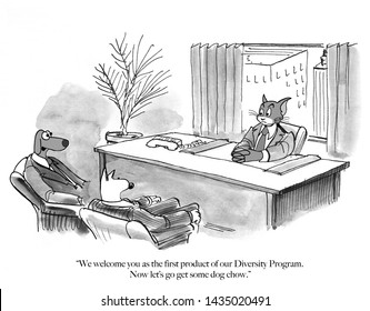 A cat is hired to be an executive by an all dog company
