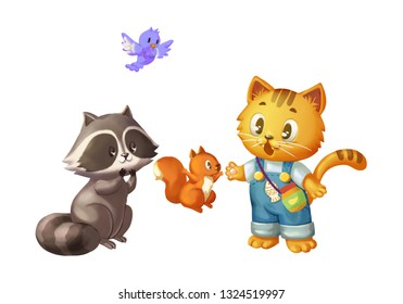 Cat and his Friends, Bird, Squirrel and Raccoon. Animals Character Design. Children Book Design. Concept Art. Realistic Illustration. Video Game Digital CG Artwork.