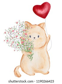Cat holding a big red heart balloon with flowers. Watercolor illustration