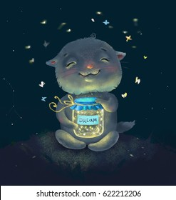 cat with jar of dreaming