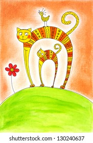 Cat and kitten, child's drawing, watercolor painting on canvas paper