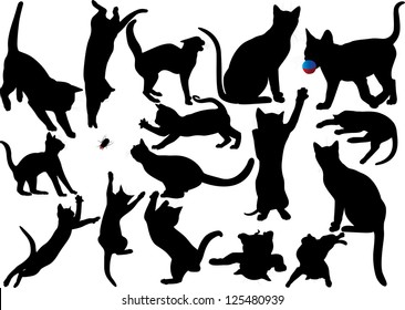 Cat and kitten silhouette on white background. Raster version.