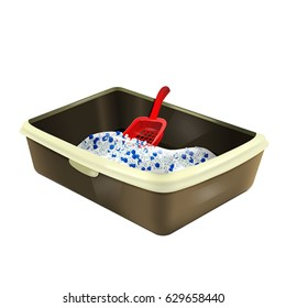 Cat litterbox. Plastic catbox filled with crystal litter. Isolated litter tray with silica gel and red matching scoop. Pet supplies for pet shop. Realistic illustration of pet product.