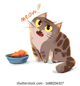 Cat meows sitting beside a bowl of food. Cat asks another meal. Funny cartoon character. Isolated on white background
