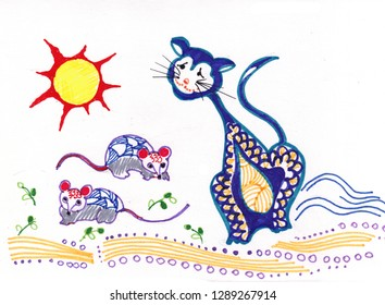 Cat and mouses in suuny summer day