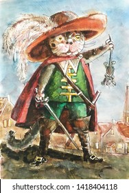 Cat musketeer in a beautiful hat and a sword holding a mouse in his paw, illustration,watercolour