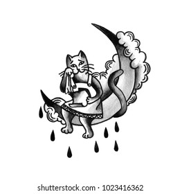 Cat on the moon is crying. Vintage old school tattoo sketch