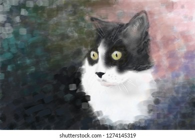 a Cat painted