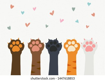 Cat paw teamwork cartoon on colorful heart background