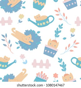 Cat playing outdoors in the garden. Seamless pattern cute design perfect for kids, children textile