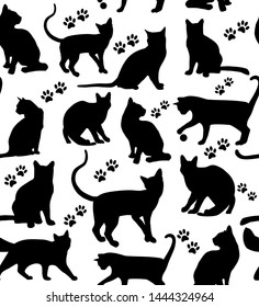 Cat seamless pattern surface black and white background.