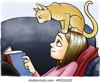 A cat sits on a girl's head and reads her book.