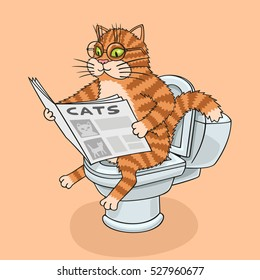 The cat sits on the toilet and reading a newspaper. Bitmap copy.