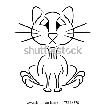 Cat Sitting Simple Drawing Lines 2 D Stock Illustration