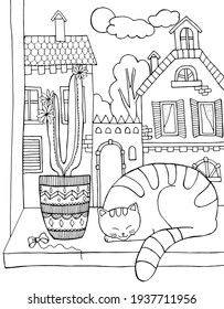 Cat sleeping on the windowsill, with a cactus, against the background of houses. Coloring book for adults and children