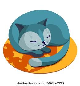 cat sleeps on a rug, cat glomerulus, sleeping cat, on a white background, illustration, kids, cute,