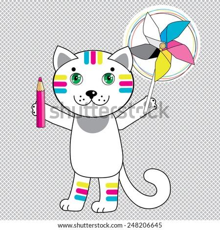 cat spinner cat pencil vector cat stock illustration 248206645