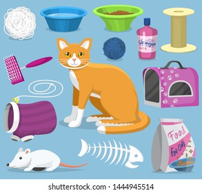 Cat toys pets accessories for pussycats care or playing kitten bowl and animal grooming tools kitty brush illustration feline set isolated on background