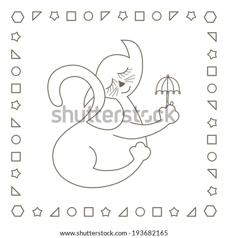 Cat Umbrella Coloring Page Coloring Book Stock Illustration