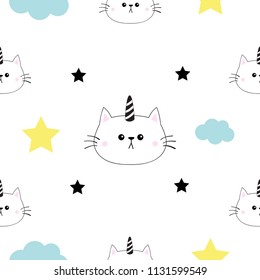 Cat Unicorn Horn Head Hands Cloud Stock Vector Royalty Free