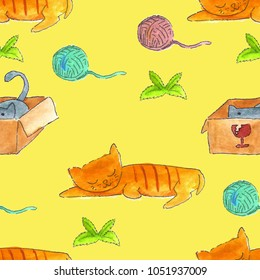 Cat watercolor seamless pattern. Cat sleeping and cat in the box playing with ball of yarn and catnip