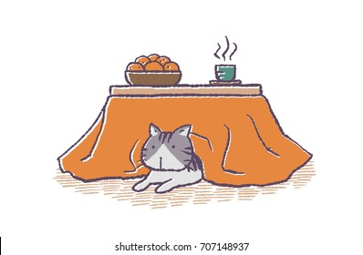 The cat which entered the kotatsu/The cat which entered the Japanese heater