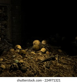 Catacombs - piles of skulls and other human remains littered about.  Happy Halloween.