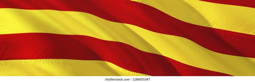 Catalonia flag. 3D rendering Waving flag design. The national symbol of Catalan.  3D Waving sign design. Waving sign background wallpaper. 3D pattern background download Catalonia HD wallpaper graphic