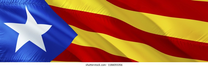 Catalonia flag. 3D rendering Waving flag design. The national symbol of Catalan.  3D Waving sign design. Waving sign background wallpaper. Catalonia 3D pattern background download HD wallpaper graphic