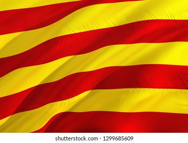 Catalonia flag. Flag of Catalan 3D rendering. Official flag of Catalonia and Catalan. Yellow, blue and red flag with star. Catalonia referendum concept. Barcelona and Spain independence concept.